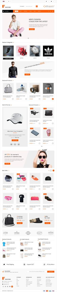 Exciter is a wonderful premium #Photoshop template for #webdev stunning #fashion store eCommerce websites with 14 organized PSD pages download now➩ https://themeforest.net/item/exciter-fashion-shop-psd-template/19347574?ref=Datasata