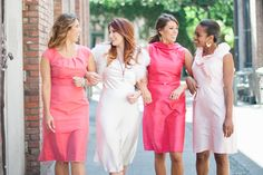 Anna Elyse bridesmaid dresses featured in various shades of pink.    www.annaelyse.com    This lovely photo is from a Hugo inspired photo shoot coordinated by First Pick Planning.  Photo by Lizzi Photography.