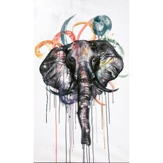 Elephant -abstract dripped watercolor art  Art by: Taylor Herzog  Follow: @therzog -instagram