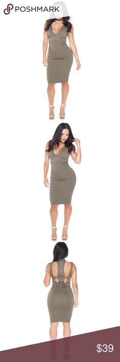 """Olive choker dress Featuring a Luxe figure hugging fabric. This ultra flattering dress will keep all of your curves in all the right places. Keep it sleek, all you need to complete this knee length look is a pair of strappy heels.   •Length approx 100cm/40"""" Material 33% nylon 65% viscose 5% spandex Dresses Midi"""