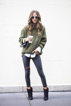 oversized army green sweater, collared shirt, sweater over shirt, leather pants, booties, ankle boots, sunglasses, blogger style, something navy, weekend, casual