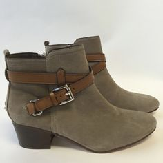 """NIB Coach Pauline Leather Ankle Boots Nubuck leather in a slate color with tan straps. Side zipper closure. Padded footbed for comfort. Silver metal hardware decor. 2"""" stacked heel. 95 Nubuck leather. 4"""" shaft. Coach Shoes Ankle Boots & Booties"""