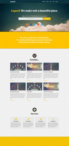 Legend - Free Responsive One Page HTML Template Free Html Website Templates, Template Site, Psd Templates, Web Design, Web Inspiration, Web Layout, User Interface Design, Cool Designs, Free Stuff