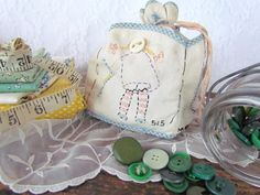 Antique Button Bag Adorable Button Faces on Four Sides Embroidered Pockets Drawstring Handmade Pouch