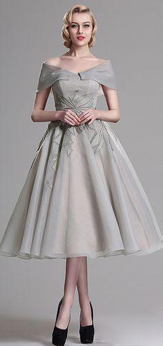 eDressit Grey Embroidery V Back Cocktail Dress