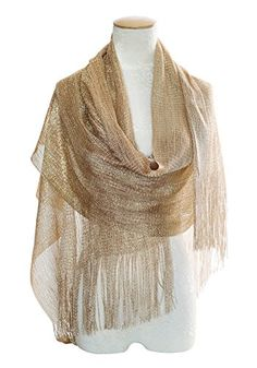 Womens Wedding Evening Wrap Shawl Glitter Metallic Prom Party Scarf with Fringe >>> Be sure to check out this awesome product.