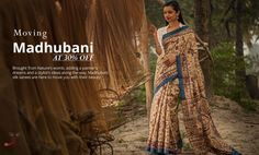 Hand painted #MadhubaniSilkSarees from Bihar at 30% OFF