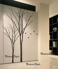 vinyl wall decal winter trees wall decal nursery by NatureStyle