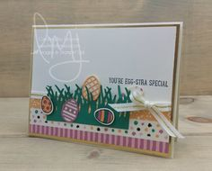 Welcome back friends. I was planning for a KISS (Keep It Simple Sunday )card today but I'm not sure that was actually the case. I kept going back  to my Big Shot and adding more and more to the card. Hmmm it happens I  guess.  I created a little slice of an Easter egg hunt. A bit of grass to h