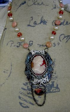 Cameo and Old Lace  Repurposed Vintage Assemblage by Vintagearts, $75.00
