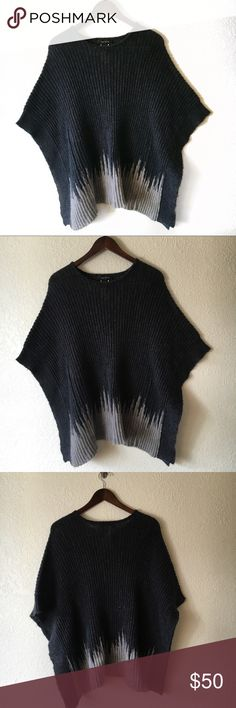 Karen Kane Knitted Poncho Karen Kane Black and gray knitted poncho style sweater. Karen Kane Sweaters Shrugs & Ponchos