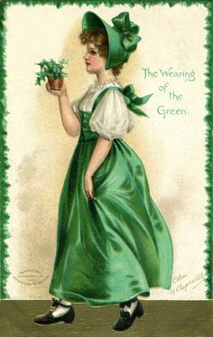 Girl in Green Dress and Bonnet Holding Green Plant, The Wearing of the Green, Postcard, c.1908