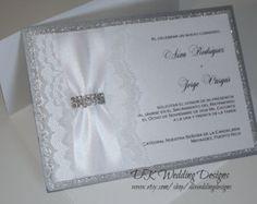 Glitter Wedding Invitation, Glitter Invite, Lace Invitation, Silver glitter invitation, Lace Wedding Invite, AIXA