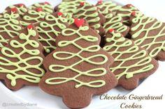 Chocolate Gingerbread Christmas Tree Cookies @createdbydiane