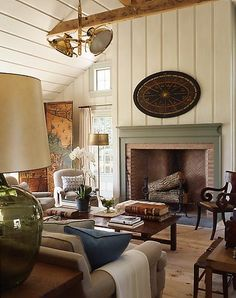 natural floor and beams, brass fixture