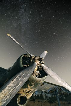♂ Aged with beauty - abandoned old rusty airplane under stars night