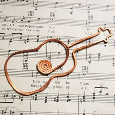 copper guitar bookmark by TheSalvagedEdge on Etsy