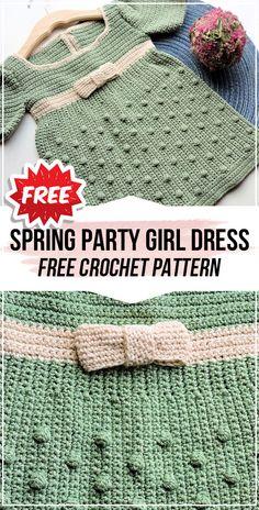crochet Spring Party Girl Baby Dress free pattern - easy crochet dress pattern for beginners Knitting TechniquesKnitting FashionCrochet Hair StylesCrochet Amigurumi Crochet Girls Dress Pattern, Crochet Toddler Dress, Crochet Bebe, Baby Girl Crochet, Crochet Baby Clothes, Crochet For Kids, Easy Crochet, Free Crochet, Crochet Dresses