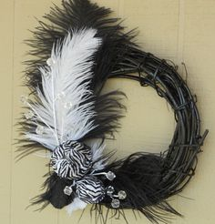 Cute black and white feather wreath