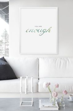 Sketch++Quote+prints+003+You+are+ENOUGH+by+WhiteVista+on+Etsy