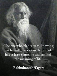The one who plants trees, knowing that he will never sit in their shade, has at least started to understand the meaning of life. - Rabindranath Tagore, who in 1913 he became the first non-European to win the Nobel Prize in Literature. Wise Quotes, Quotable Quotes, Words Quotes, Great Quotes, Quotes To Live By, Motivational Quotes, Inspirational Quotes, Fart Quotes, Peace Of Mind Quotes