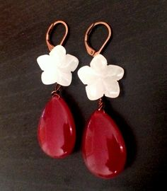 Free UK Shipping - Delicious red ruby drop with flower earring! by Theshobs on Etsy Flower Earrings, Drop Earrings, Free Uk, Beautiful Earrings, Trending Outfits, Unique Jewelry, Handmade Gifts, Flowers, Red