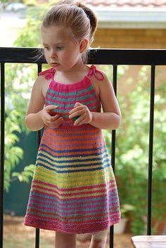 Ravelry: Summer Happy Fun Dress pattern by Jade Fletcher Crochet Dress Girl, Crochet Girls, Crochet Blouse, Crochet For Kids, Summer Knitting, Knitting For Kids, Baby Knitting Patterns, Kids Dress Patterns, Crochet Toddler