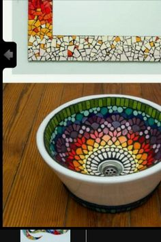 Espejo y bacha Más Más Mosaic Flower Pots, Mosaic Pots, Mosaic Glass, Mosaic Tiles, Stained Glass, Glass Art, Mosaic Crafts, Mosaic Projects, Mosaic Designs