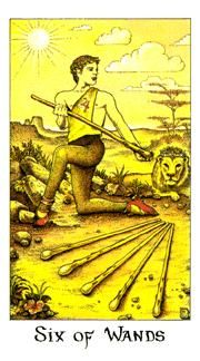 June 25 Tarot Card: Six of Wands (Cosmic deck) Life is good. Things are moving in your favor now ~ be confident, be proud