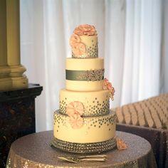 Pink and Gray Wedding Cake