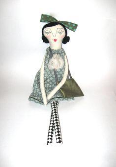 Valentina: Handmade Rag Doll - Eco Friendly Cloth Doll - 24 Inches - Recycled and Vintage Textiles