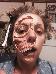 Latex application pre makeup #latex#fx#halloween#gory#tornface