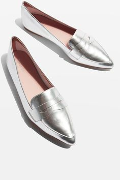 VIVA Pointed Toe Loafers Silver - View All Shoes - Shoes - Topshop USA