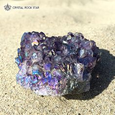 Amethyst Titanium Angel Opal Aura Cluster Rainbow Purple Quartz - Sacred Space Room Decor - Intuition and Third Eye Meditation Crystal  A special piece for a special rock star out there! Fall in love with this amethyst titanium infused aura crystal cluster. www.crystalrockstar.etsy.com