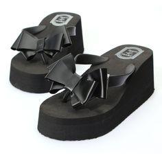 2015 New Fashion Summer Women Platform High Heel Flip Flops Beach Sandals Bowknot Slippers Women Shoes Size6.0-7.5 For Choice