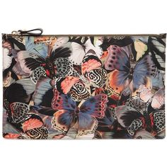 Valentino Women Butterfly Printed Nylon Pouch ($285) ❤ liked on Polyvore featuring bags, handbags, clutches, bags and purse, multi, purse pouch, nylon purse, pouch purse, nylon pouch and man pouch bag