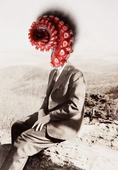 clock-defacing:    ( Collage / Mixed Media / Octopus / Vintage Photography )