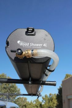 Road Shower portable camping shower shown mounted on roof rack Expedition Trailer, Overland Trailer, Expedition Vehicle, Truck Camping, Camping Gear, Camping Trailers, Nissan Patrol, Motorhome, Rolls Royce