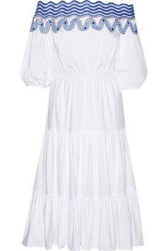 Peter Pilotto | Pallas schulterfreies Kleid aus einer Baumwollmischung mit Stickerei | NET-A-PORTER.COM