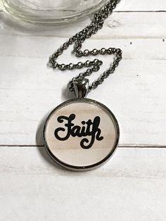 Faith Pendant Faith Necklace by GracieLouDesignsCo on Etsy