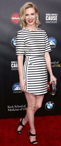 January Jones wore a striped dress to the Rebels With a Cause Gala.