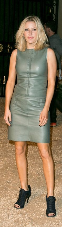 Ellie Goulding in a leather minidress on the red carpet at the Burberry London in LA Show.