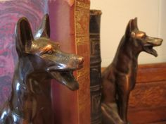 Vintage cast iron bookends/ Antique dog German by LesCurieux