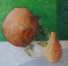 toile, pots et potiches à la peinture acrylique et ajout de tesselles de verre, par Séverine Peugniez