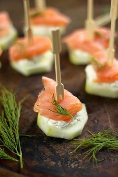 Smoked Salmon and Crean Cheese Cucumber Bites