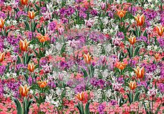 Spring flowers abstract background. Beautiful flora pattern. Digital illustration Hand drawn. For Art, web, print, wallpaper, greeting card, textile, fashion, fabric, texture, Home decor and more graphic design.