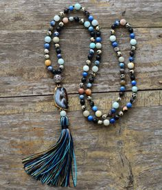 Boho Druzy Necklace With Tassels - In Stock Same day shipping