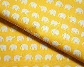 Tiny Elephant fabric yellow background