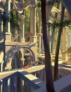 ArtStation - a light is shining, Aliya Chen Fantasy Landscape, Landscape Art, Fantasy Art, Landscape Drawings, Art Drawings, Fantasy Setting, Environment Concept Art, Environmental Art, Anime Scenery