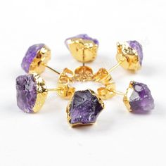 Wholesale Pairs Gold Plated Copper Rough Natural Amethyst Stud Earrings Raw Crystal Quartz Post Earring Handmade Fashion Geode Jewelry G1151 by Druzyworld on Etsy